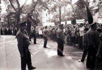 FIDESZ-Protest vor der chinesischen Botschaft nach der Niederschlagung der Proteste in Peking, 05.06.1989