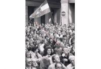 Demonstration zum Gedenken an den Ausbruch der ungarischen Revolution 1956, 23.10.1989